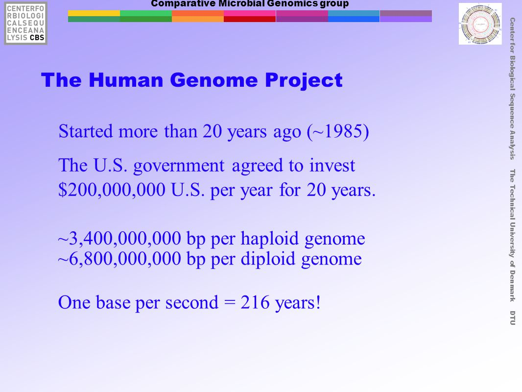 Comparative Microbial Genomics group Center for Biological Sequence Analysis The Technical University of Denmark DTU The Human Genome Project Started more than 20 years ago (~1985) The U.S.