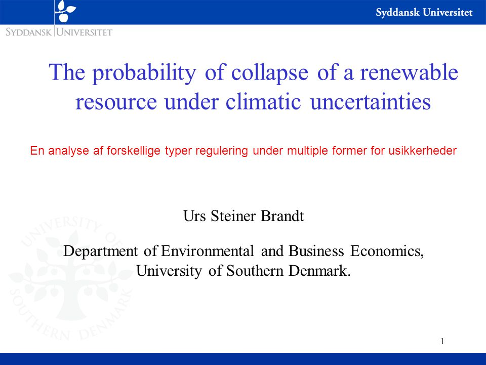 2 Intro Some renewable resources have a critical stock level, below which the resource cannot recover without serious economic loses to the related harvesting industry.
