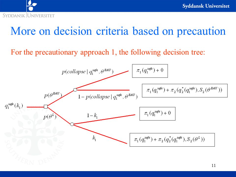 11 More on decision criteria based on precaution For the precautionary approach 1, the following decision tree: