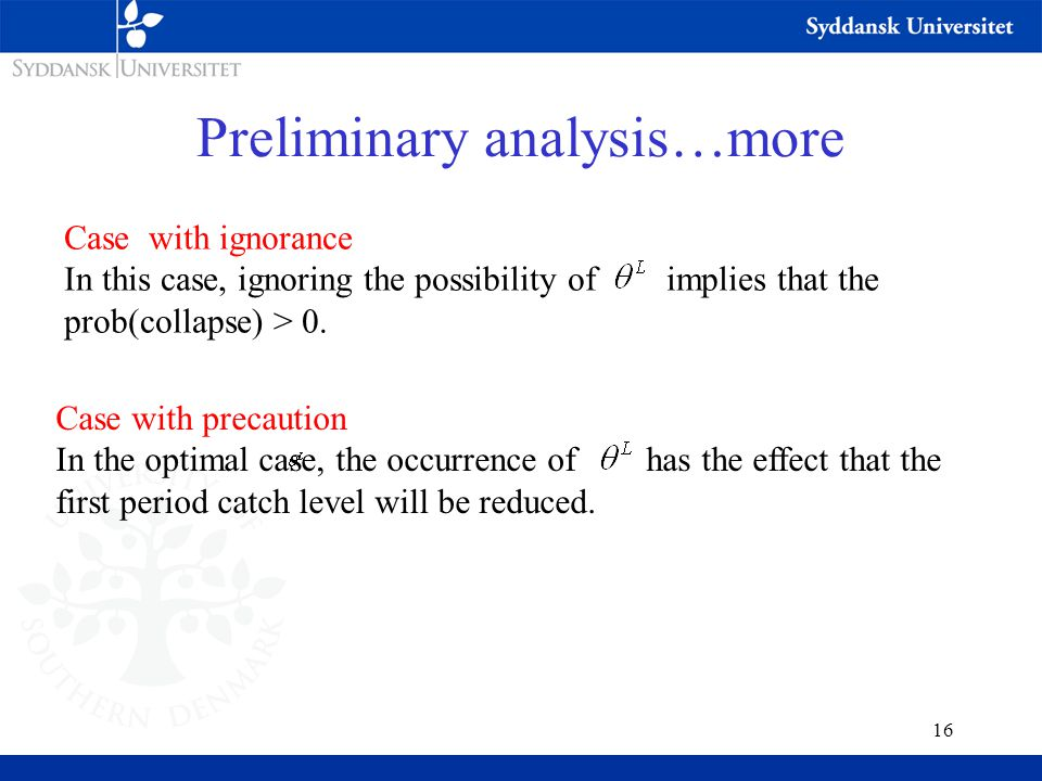 16 Preliminary analysis…more Case with precaution In the optimal case, the occurrence of has the effect that the first period catch level will be reduced.