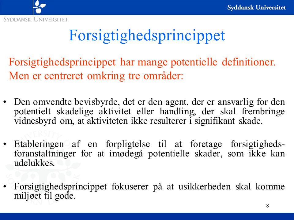 8 Forsigtighedsprincippet Forsigtighedsprincippet har mange potentielle definitioner.