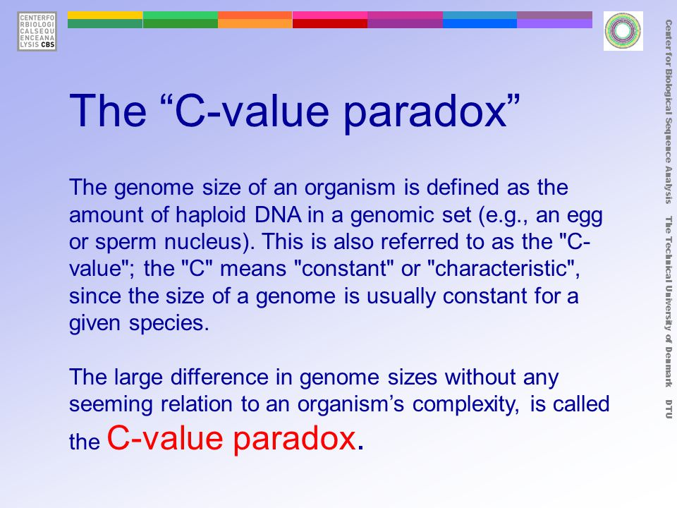 The C-value paradox The genome size of an organism is defined as the amount of haploid DNA in a genomic set (e.g., an egg or sperm nucleus).