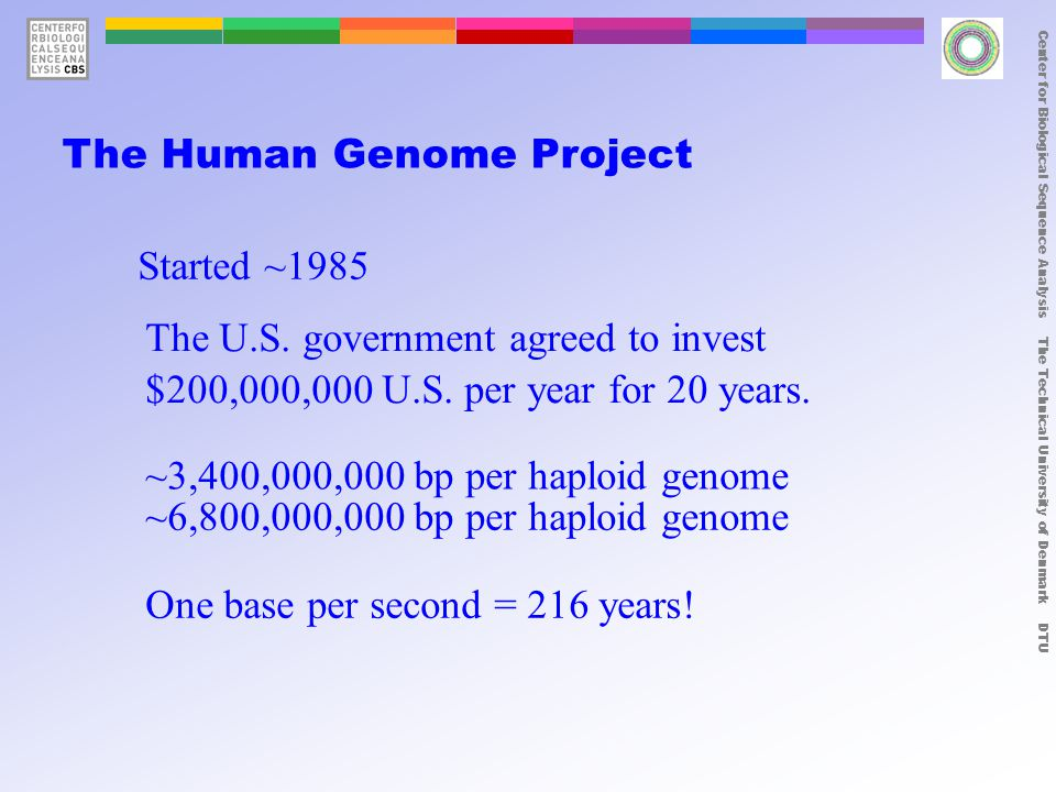 Center for Biological Sequence Analysis The Technical University of Denmark DTU year # human genes mapped #years to sequence human genome 1970nonenot possible 19803~4,000,000 years 199012~1000 years 2000~25,000draft 2005~30,000 new draft + chimp, chicken, dog, mouse, pig, rat...
