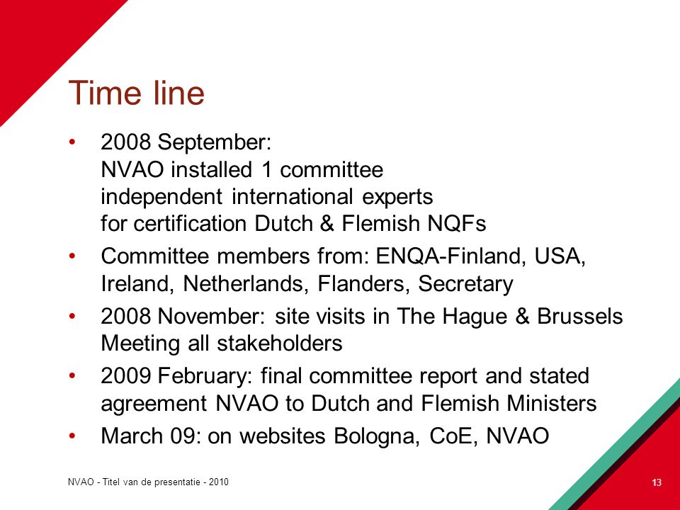 NVAO - Titel van de presentatie - 2010 13 Time line 2008 September: NVAO installed 1 committee independent international experts for certification Dutch & Flemish NQFs Committee members from: ENQA-Finland, USA, Ireland, Netherlands, Flanders, Secretary 2008 November: site visits in The Hague & Brussels Meeting all stakeholders 2009 February: final committee report and stated agreement NVAO to Dutch and Flemish Ministers March 09: on websites Bologna, CoE, NVAO 13