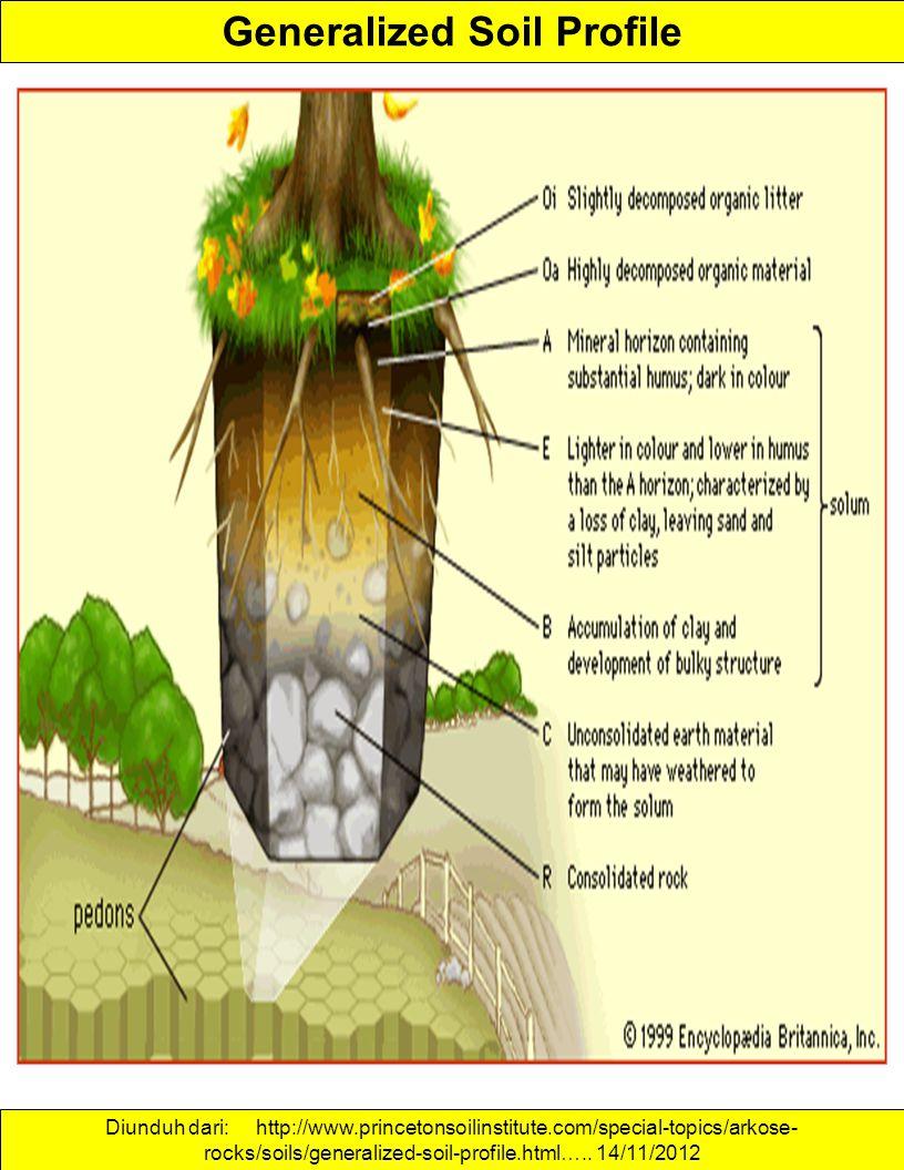 Generalized Soil Profile Diunduh dari: http://www.princetonsoilinstitute.com/special-topics/arkose- rocks/soils/generalized-soil-profile.html….. 14/11