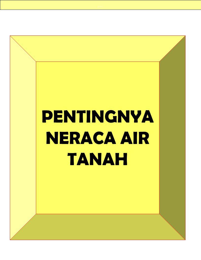 … PENTINGNYA NERACA AIR TANAH