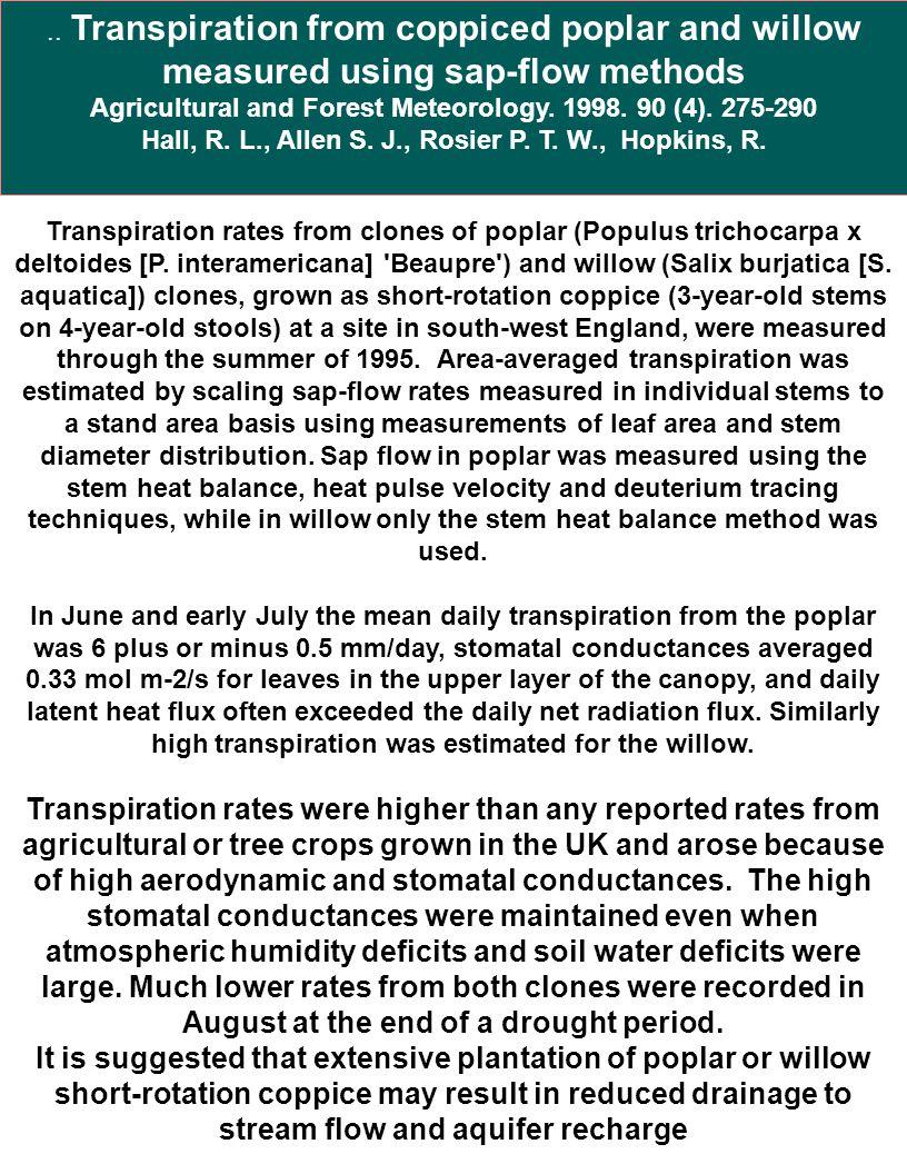 Transpiration rates from clones of poplar (Populus trichocarpa x deltoides [P. interamericana] 'Beaupre') and willow (Salix burjatica [S. aquatica]) c