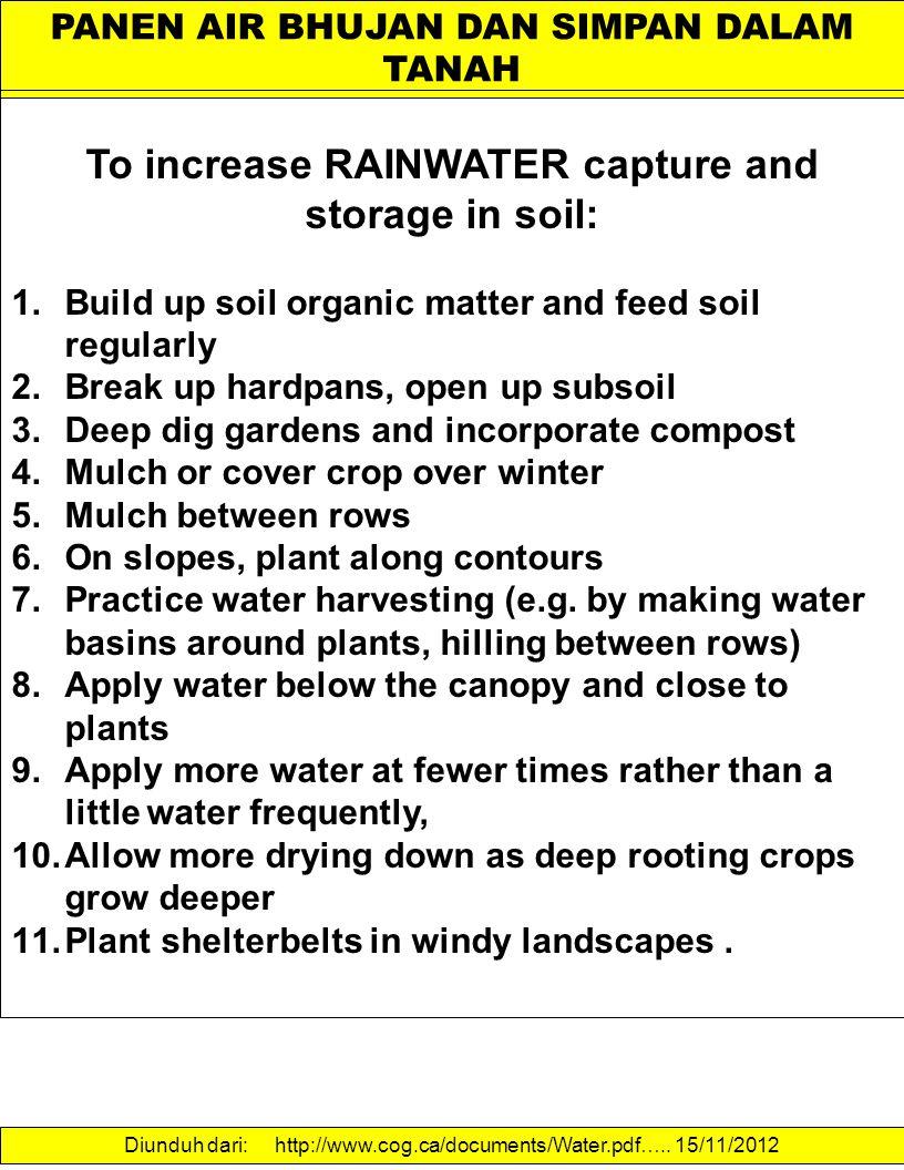 PANEN AIR BHUJAN DAN SIMPAN DALAM TANAH To increase RAINWATER capture and storage in soil: 1.Build up soil organic matter and feed soil regularly 2.Br