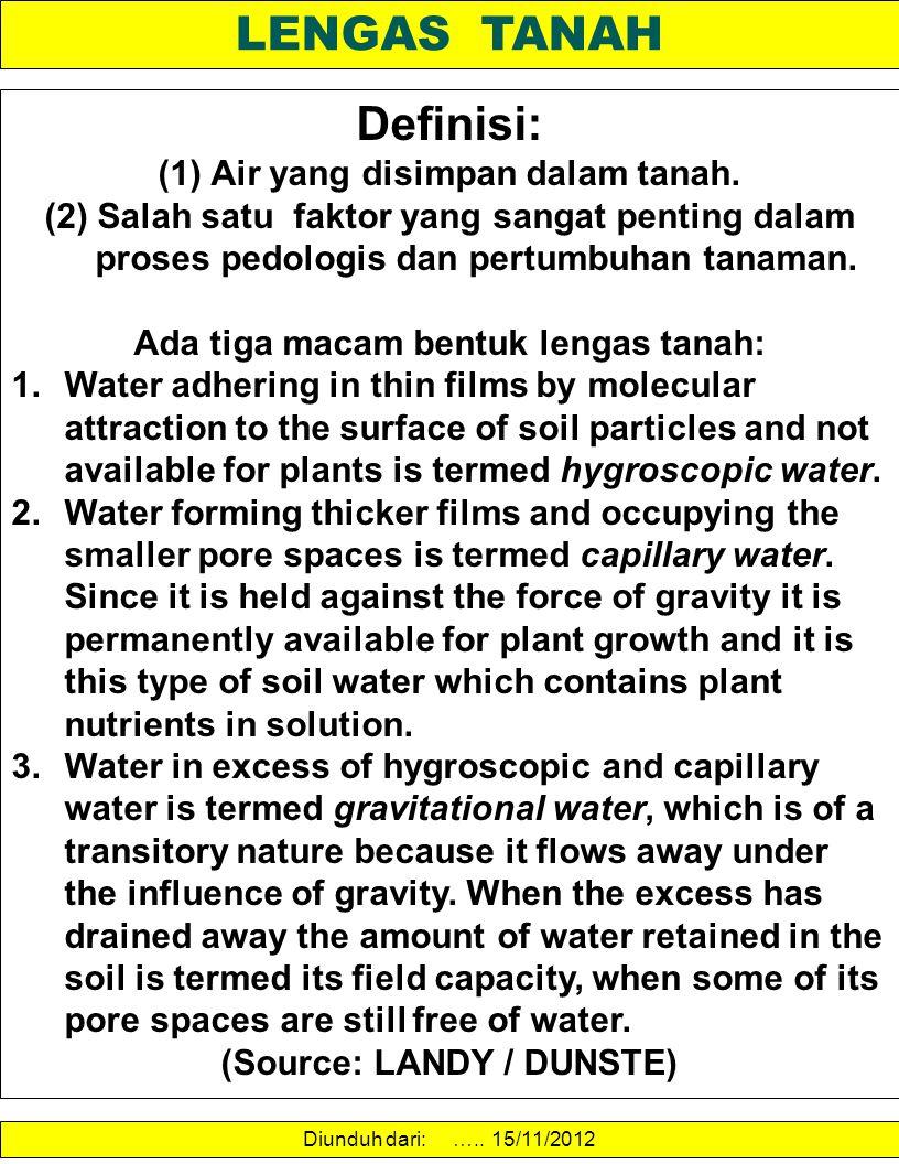 LENGAS TANAH Definisi: (1)Air yang disimpan dalam tanah. (2)Salah satu faktor yang sangat penting dalam proses pedologis dan pertumbuhan tanaman. Ada