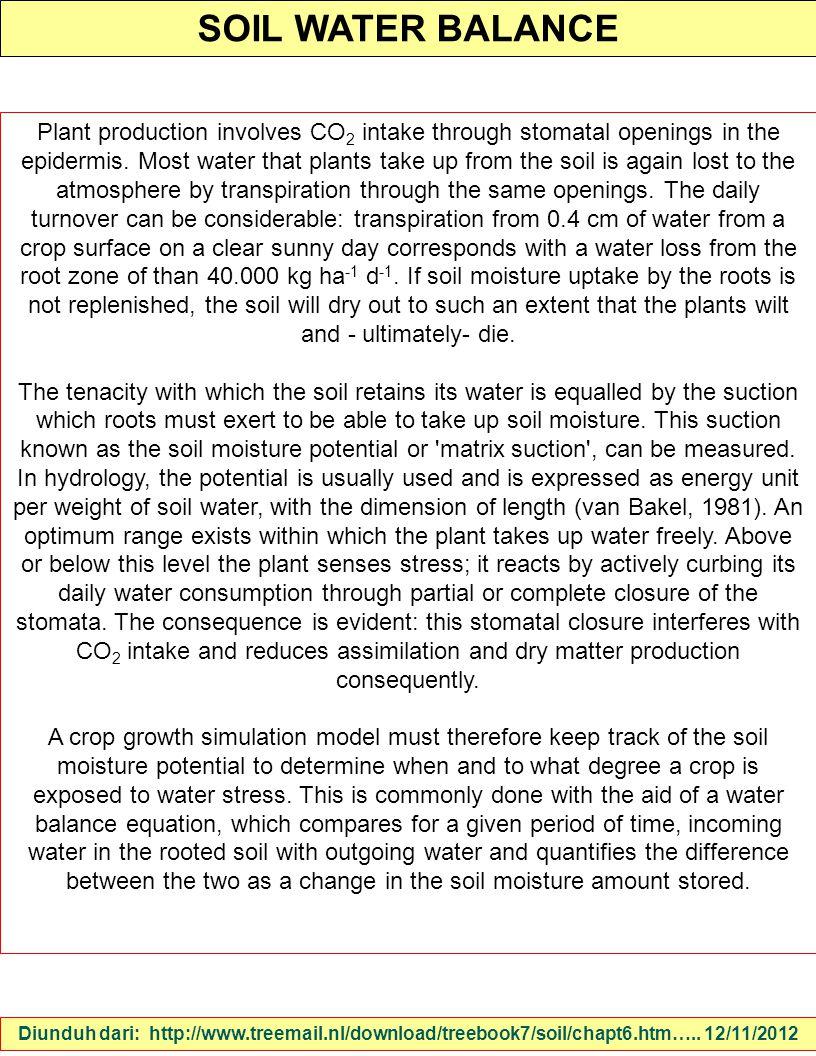 SOIL WATER BALANCE Diunduh dari: http://www.treemail.nl/download/treebook7/soil/chapt6.htm….. 12/11/2012 Plant production involves CO 2 intake through
