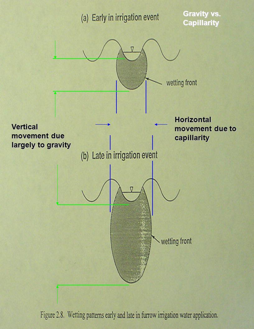 Horizontal movement due to capillarity Vertical movement due largely to gravity Gravity vs. Capillarity