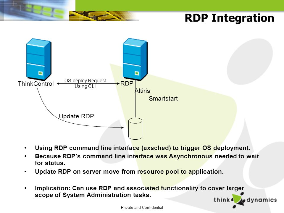 Private and Confidential RDP Integration Using RDP command line interface (axsched) to trigger OS deployment.