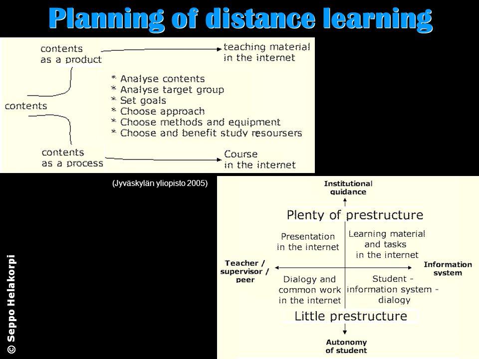 © Seppo Helakorpi Planning of distance learning (Jyväskylän yliopisto 2005)