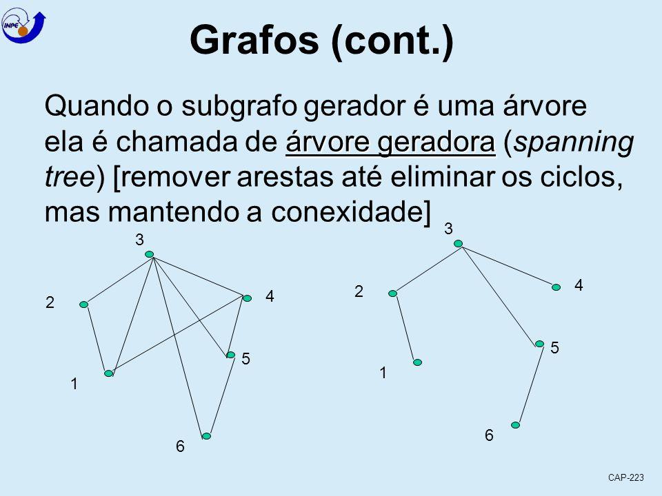 CAP-223 Grafos (cont.) Um subgrafo G 1 (V 1, E 1 ) de um grafo subgrafo gerador G (V, E) é um subgrafo gerador (de G (V, E) se V = V 1 3 2 1 6 5 4 3 2 1 6 5 4