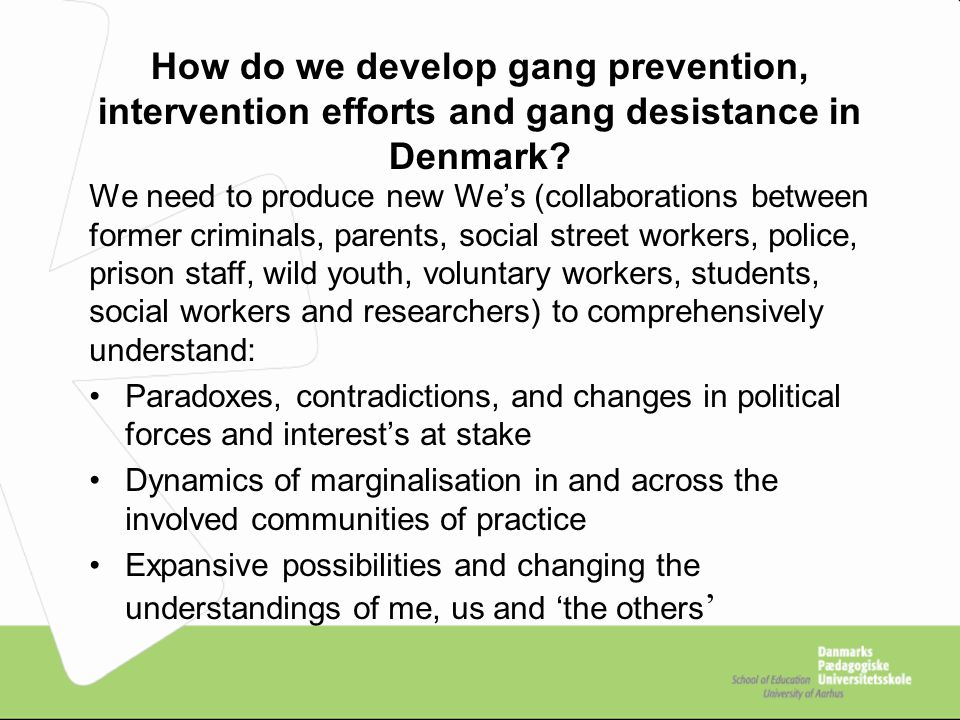How do we develop gang prevention, intervention efforts and gang desistance in Denmark.