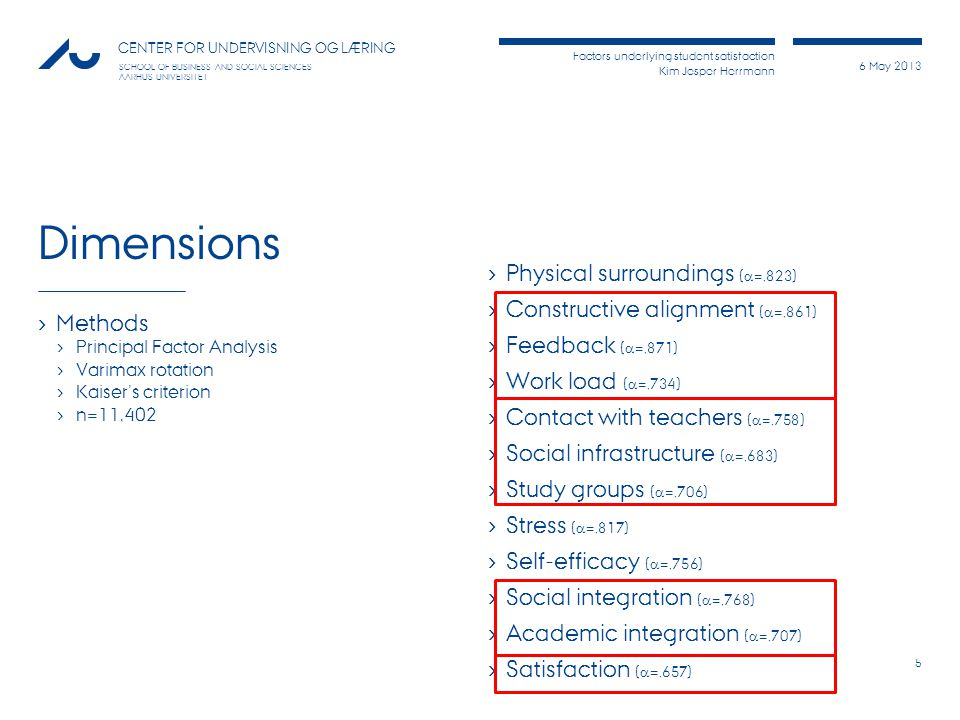 Factors underlying student satisfaction Kim Jesper Herrmann 6 May 2013 CENTER FOR UNDERVISNING OG LÆRING SCHOOL OF BUSINESS AND SOCIAL SCIENCES AARHUS UNIVERSITET References Biggs, J.
