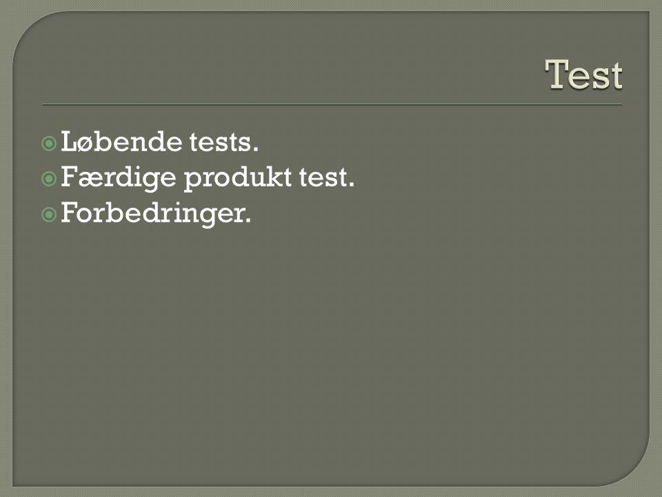  Løbende tests.  Færdige produkt test.  Forbedringer.