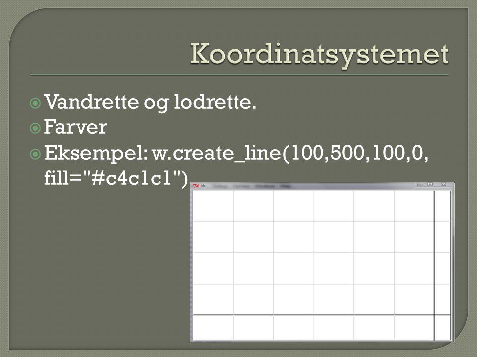  Vandrette og lodrette.  Farver  Eksempel: w.create_line(100,500,100,0, fill= #c4c1c1 )