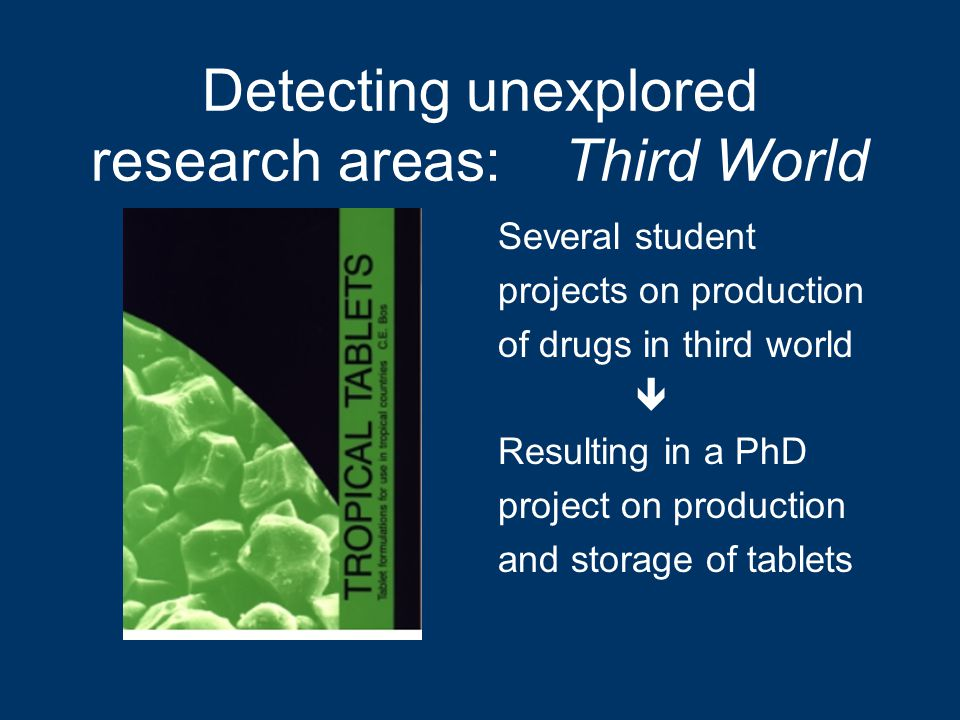 Detecting unexplored research areas: Third World Several student projects on production of drugs in third world  Resulting in a PhD project on production and storage of tablets