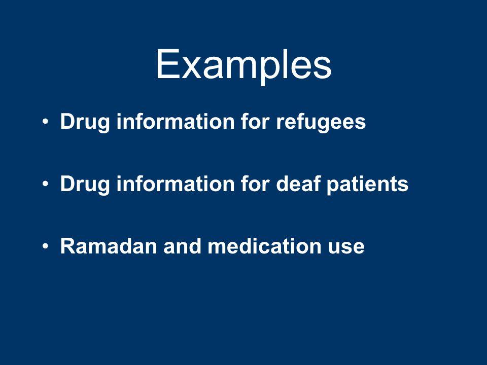 Examples Drug information for refugees Drug information for deaf patients Ramadan and medication use