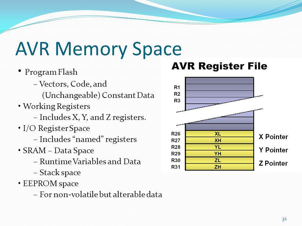 AVR Memory Space Program Flash – Vectors, Code, and (Unchangeable) Constant Data Working Registers – Includes X, Y, and Z registers. I/O Register Spac