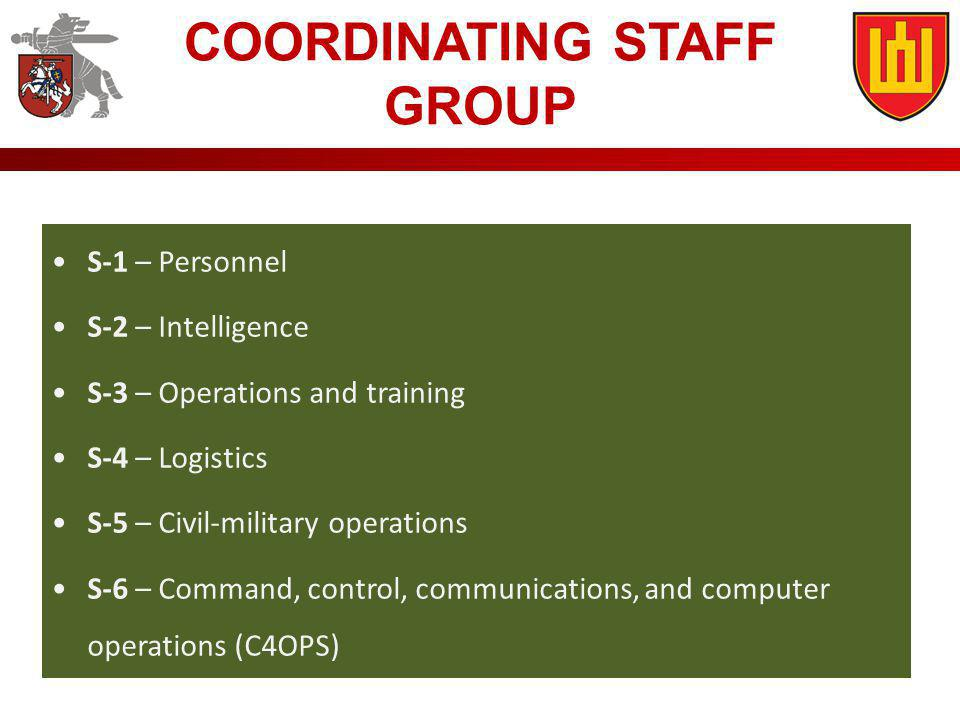S-1 – Personnel S-2 – Intelligence S-3 – Operations and training S-4 – Logistics S-5 – Civil-military operations S-6 – Command, control, communication