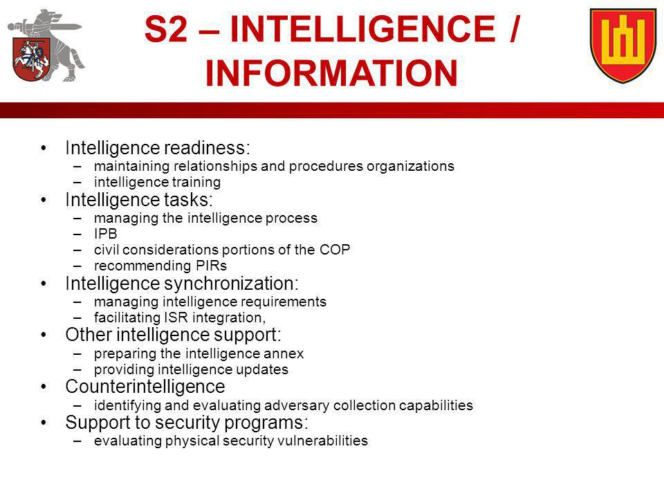 S2 – INTELLIGENCE / INFORMATION Intelligence readiness: –maintaining relationships and procedures organizations –intelligence training Intelligence ta