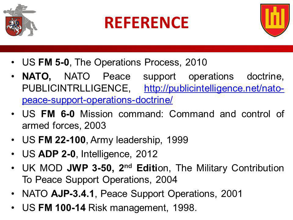 REFERENCE US FM 5-0, The Operations Process, 2010 NATO, NATO Peace support operations doctrine, PUBLICINTRLLIGENCE, http://publicintelligence.net/nato