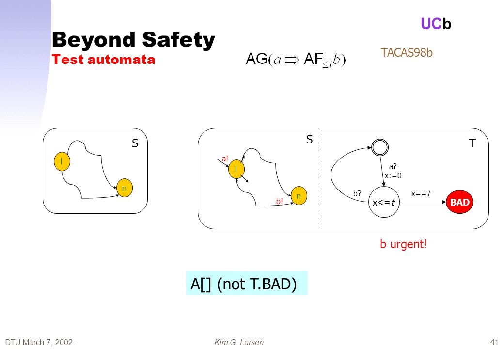 DTU March 7, 2002.Kim G. Larsen UCb 41 Beyond Safety Test automata TACAS98b l n l n a.