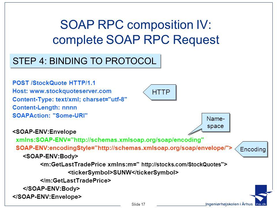 Ingeniørhøjskolen i Århus Slide 17 SOAP RPC composition IV: complete SOAP RPC Request POST /StockQuote HTTP/1.1 Host: www.stockquoteserver.com Content