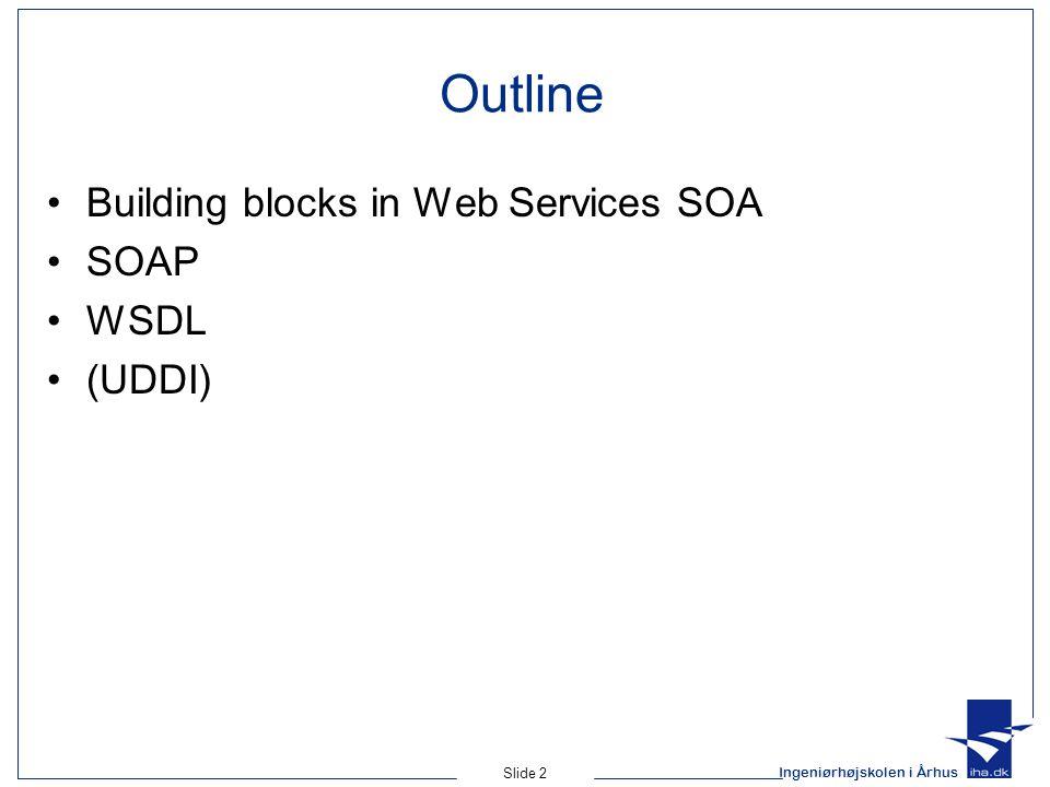 Ingeniørhøjskolen i Århus Slide 2 Outline Building blocks in Web Services SOA SOAP WSDL (UDDI)