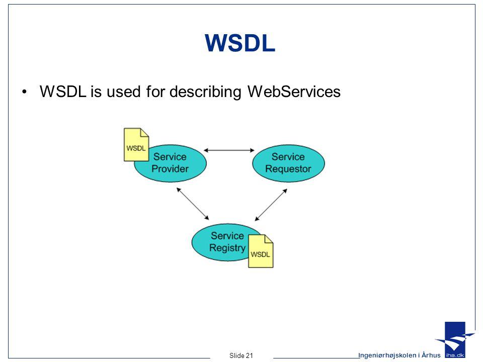 Ingeniørhøjskolen i Århus Slide 21 WSDL WSDL is used for describing WebServices