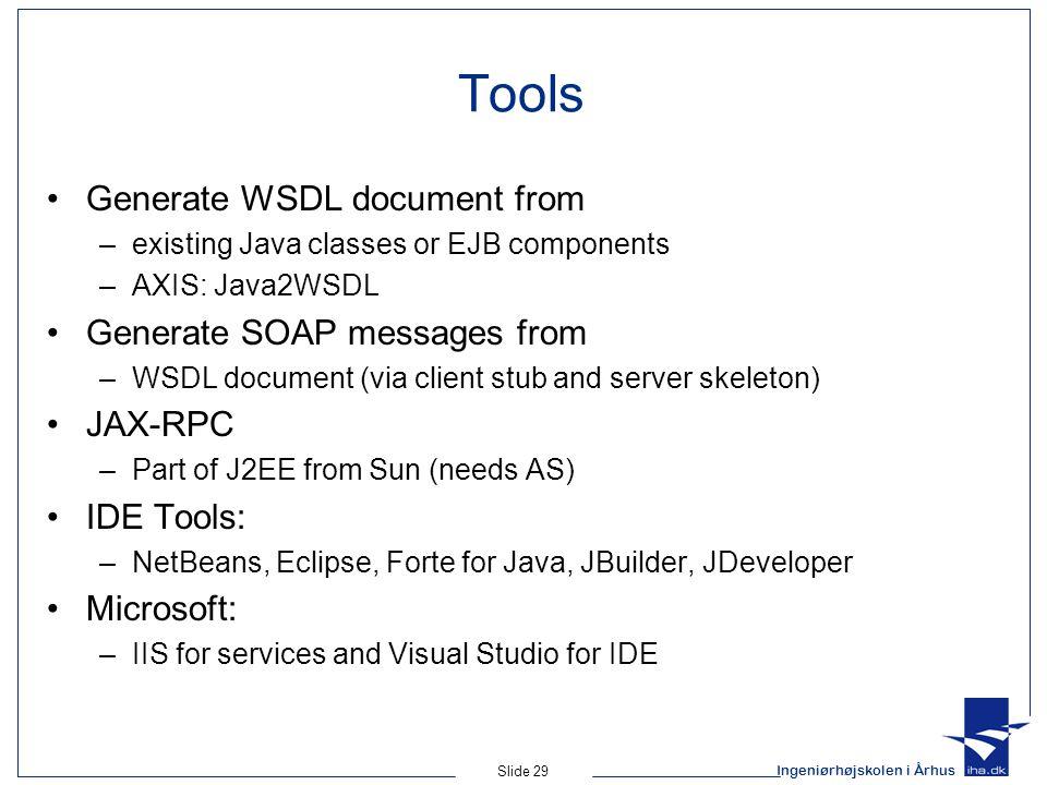 Ingeniørhøjskolen i Århus Slide 29 Tools Generate WSDL document from –existing Java classes or EJB components –AXIS: Java2WSDL Generate SOAP messages