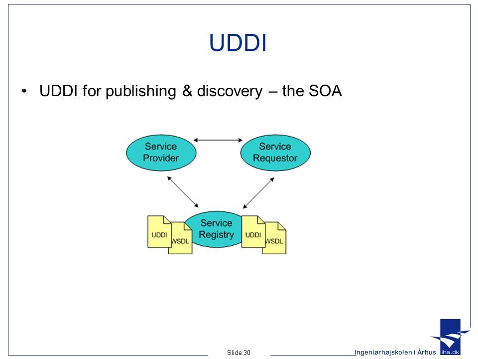 Ingeniørhøjskolen i Århus Slide 30 UDDI UDDI for publishing & discovery – the SOA