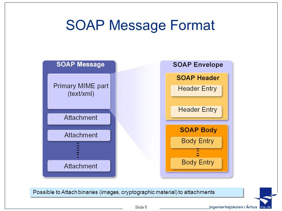 Ingeniørhøjskolen i Århus Slide 9 SOAP Message Format Possible to Attach binaries (images, cryptographic material) to attachments
