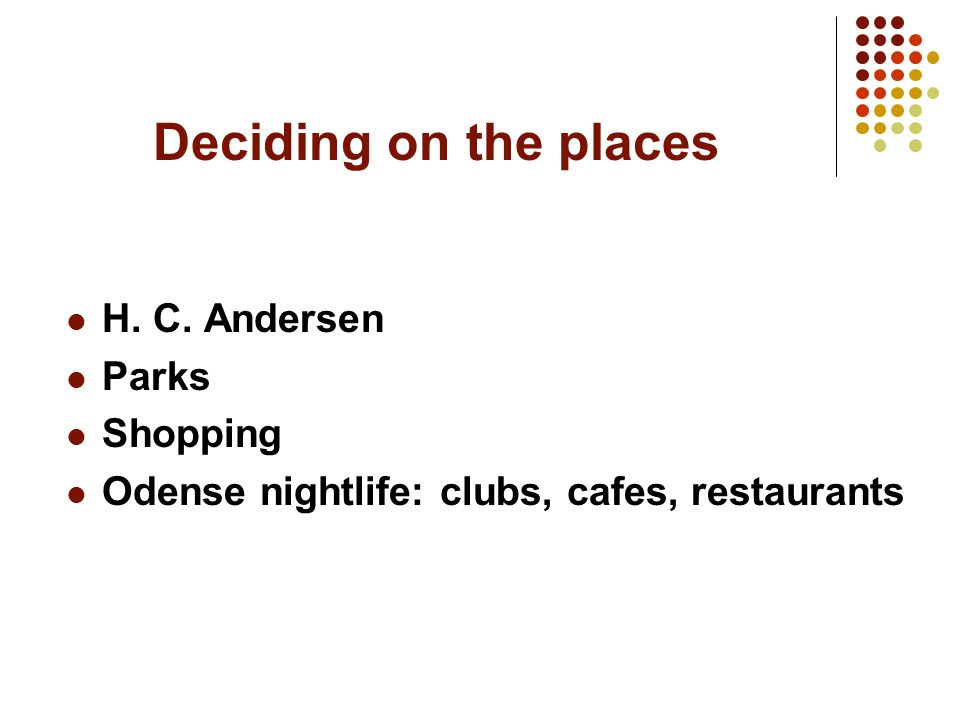 Deciding on the places H. C. Andersen Parks Shopping Odense nightlife: clubs, cafes, restaurants