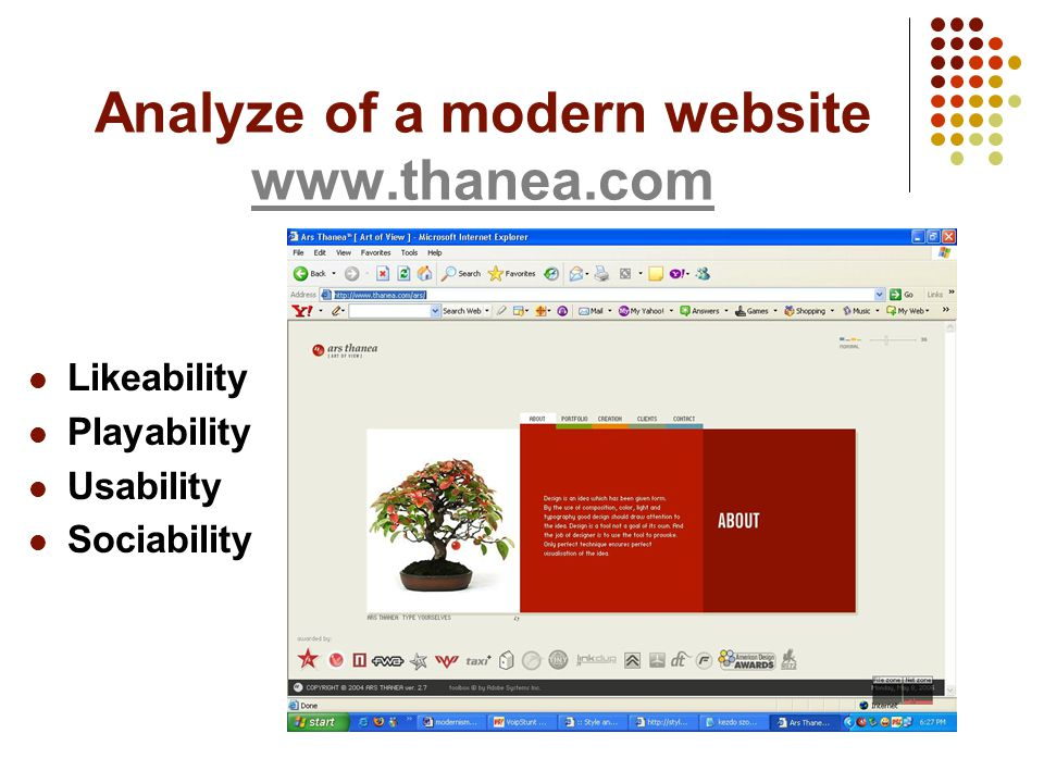 Analyze of a modern website www.thanea.com www.thanea.com Likeability Playability Usability Sociability