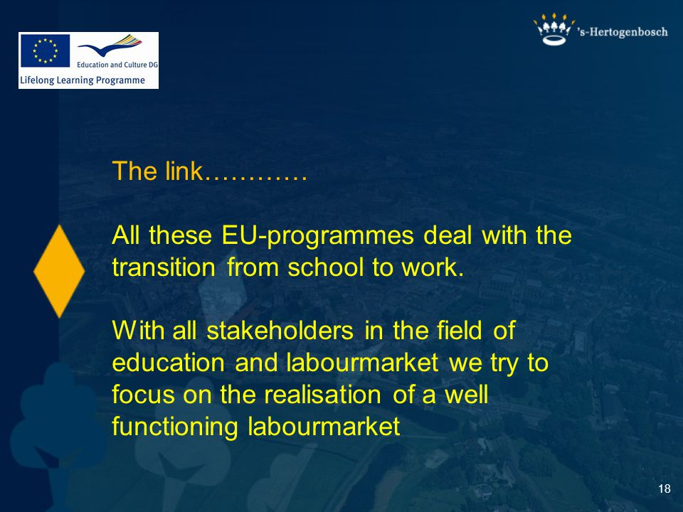 18 The link………… All these EU-programmes deal with the transition from school to work.