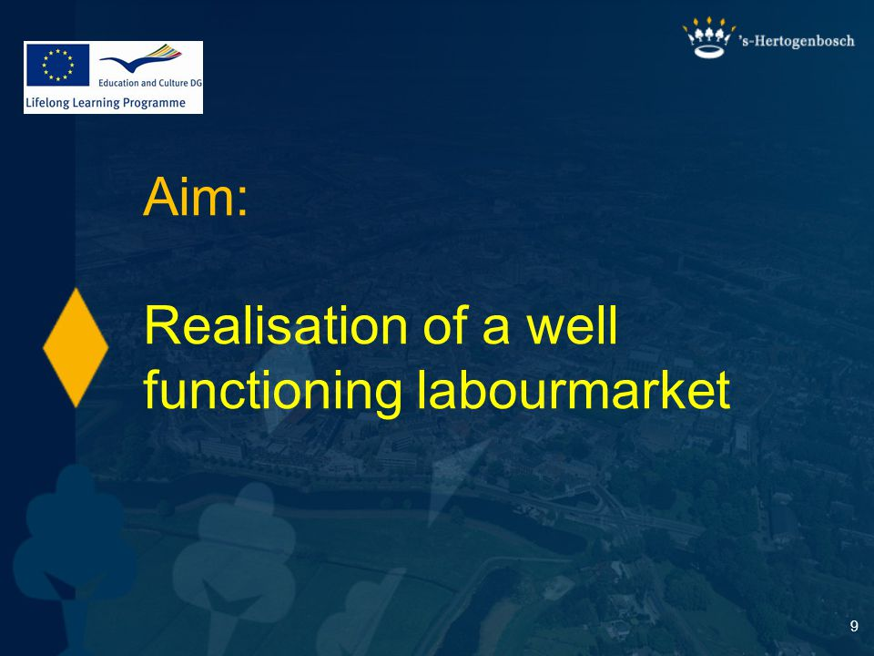 9 Aim: Realisation of a well functioning labourmarket
