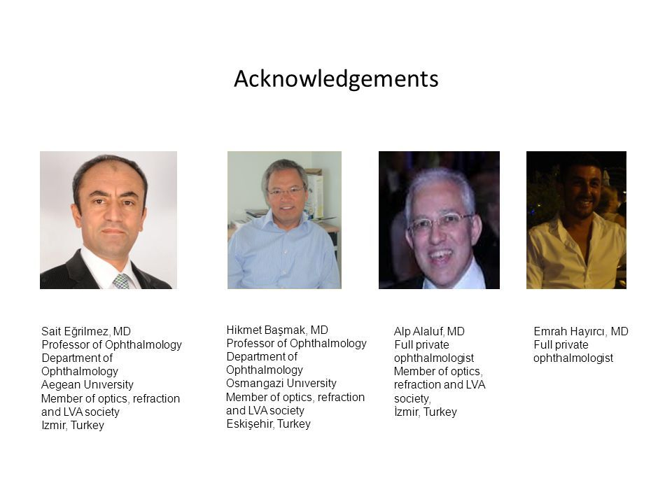 Acknowledgements Sait Eğrilmez, MD Professor of Ophthalmology Department of Ophthalmology Aegean Unıversity Member of optics, refraction and LVA society Izmir, Turkey Hikmet Başmak, MD Professor of Ophthalmology Department of Ophthalmology Osmangazi Unıversity Member of optics, refraction and LVA society Eskişehir, Turkey Alp Alaluf, MD Full private ophthalmologist Member of optics, refraction and LVA society, İzmir, Turkey Emrah Hayırcı, MD Full private ophthalmologist