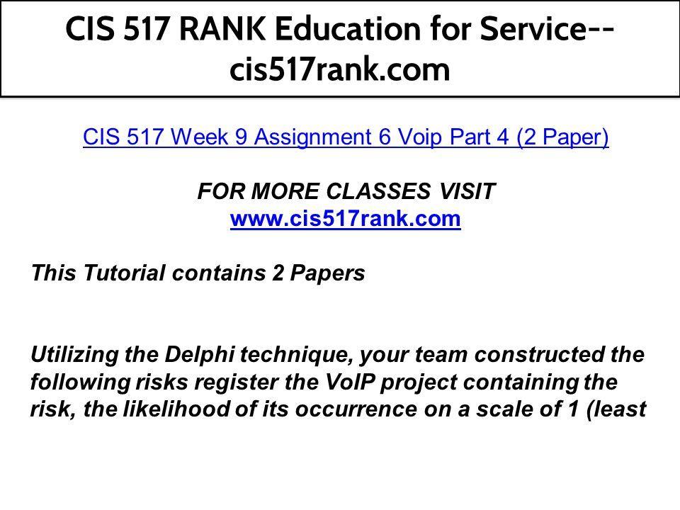 CIS 517 RANK Education for Service-- cis517rank com  - ppt