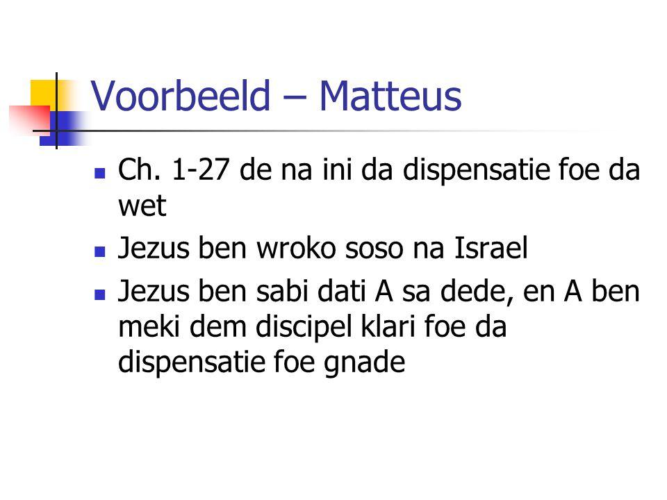 Voorbeeld – Matteus Ch.