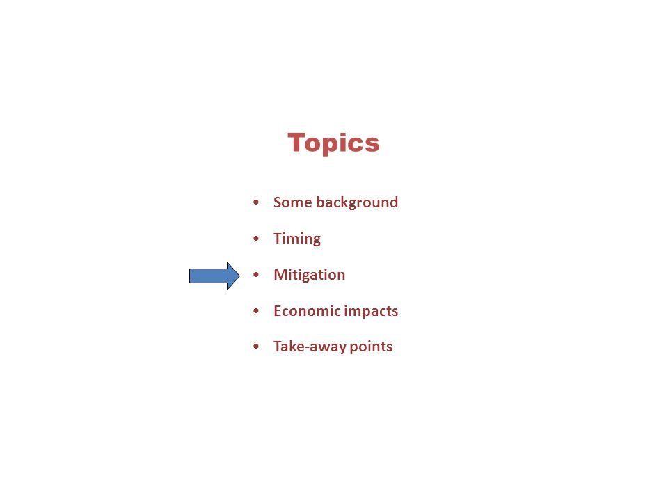 Topics Some background Timing Mitigation Economic impacts Take-away points