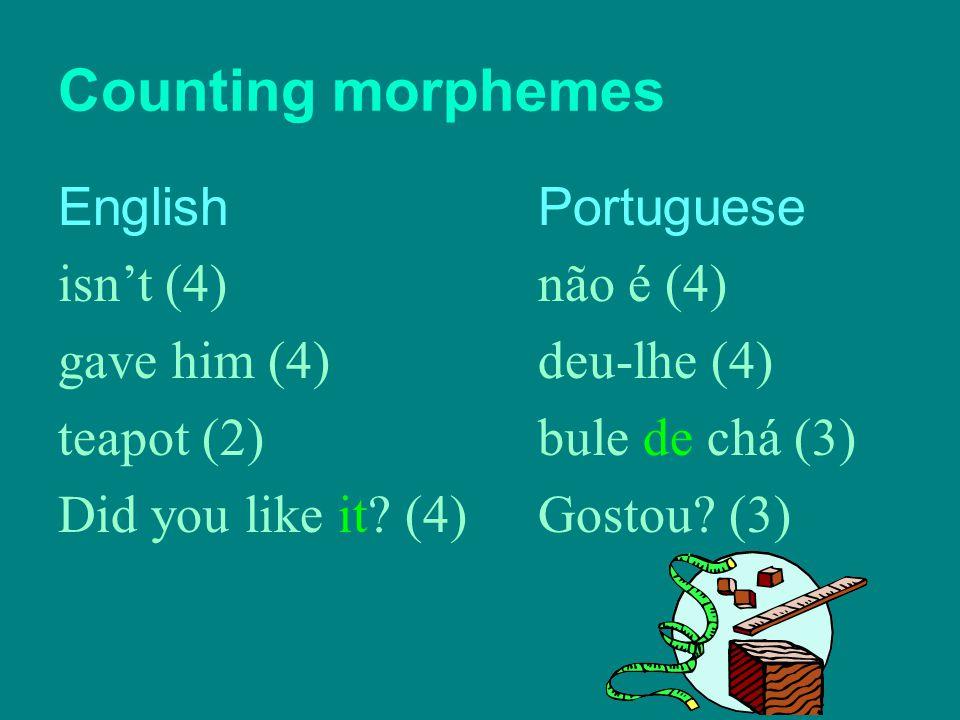 Counting morphemes EnglishPortuguese isn't (4) não é (4) gave him (4) deu-lhe (4) teapot (2) bule de chá (3) Did you like it? (4)Gostou? (3)