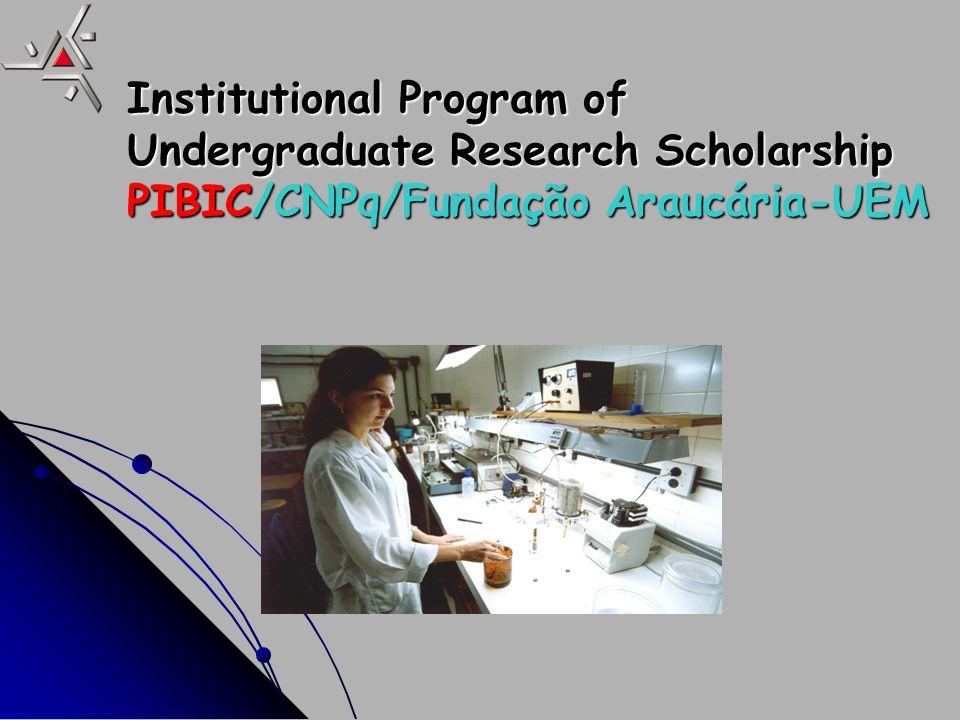 Institutional Program of Undergraduate Research Scholarship in Technological and Development and Innovation – PIBITI /CNPq/UEM