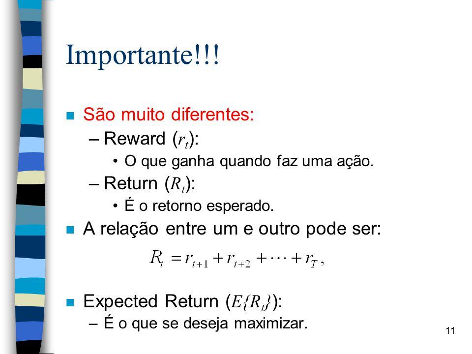 11 Importante!!. n São muito diferentes: –Reward ( r t ): O que ganha quando faz uma ação.