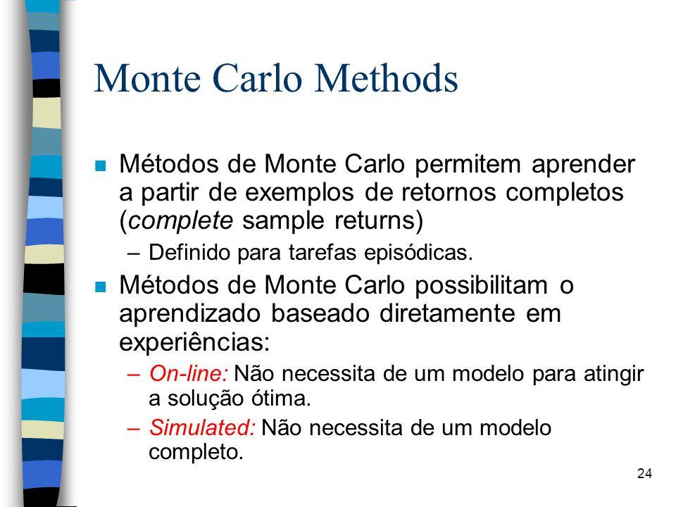 24 Monte Carlo Methods n Métodos de Monte Carlo permitem aprender a partir de exemplos de retornos completos (complete sample returns) –Definido para tarefas episódicas.