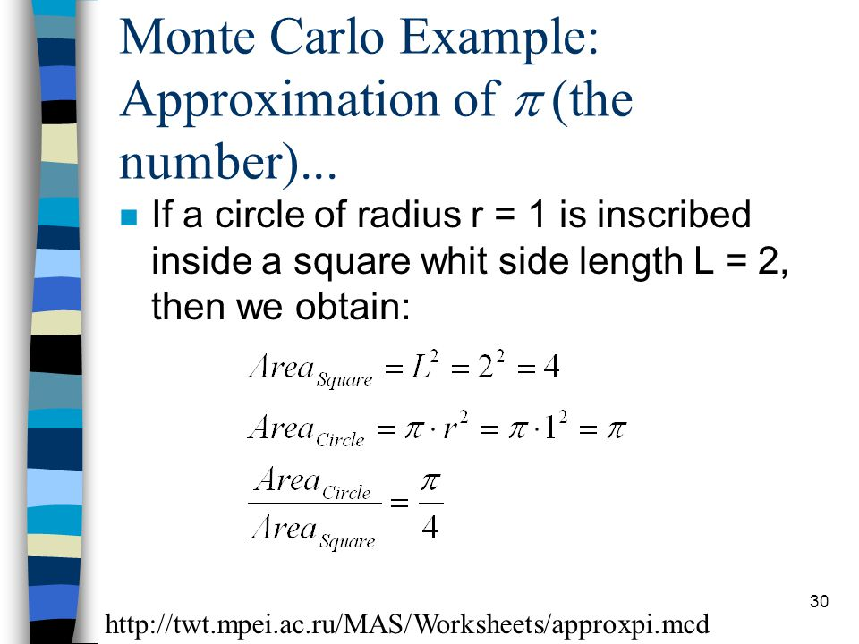 30 Monte Carlo Example: Approximation of  (the number)...