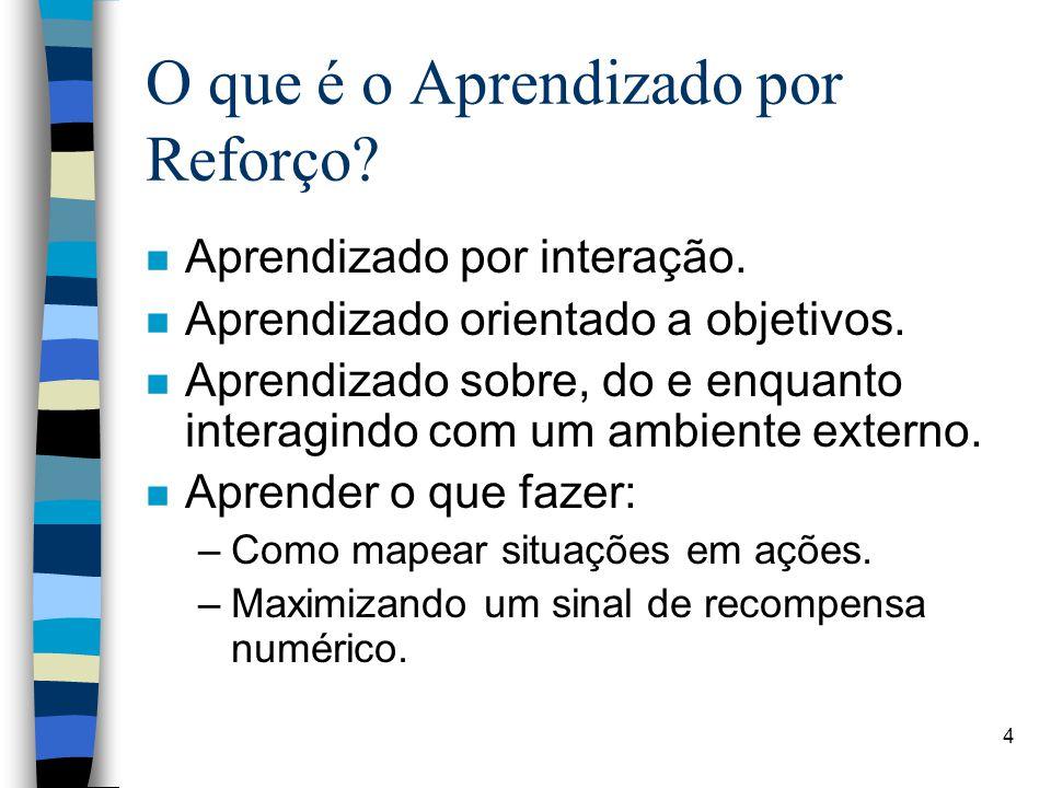 4 O que é o Aprendizado por Reforço. n Aprendizado por interação.