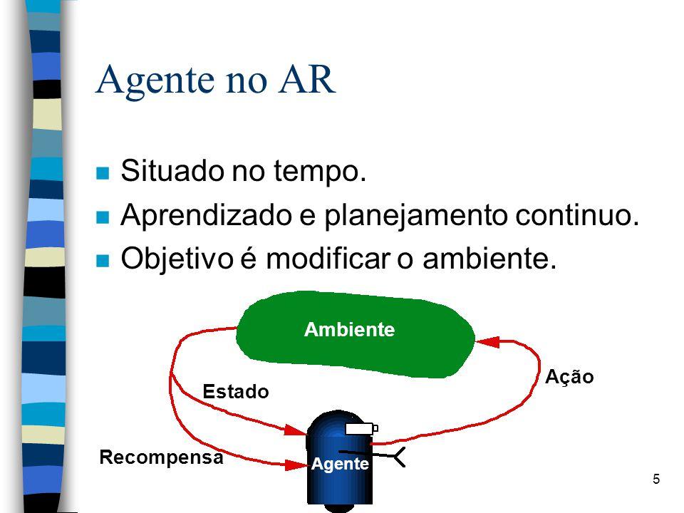 5 Agente no AR n Situado no tempo. n Aprendizado e planejamento continuo.
